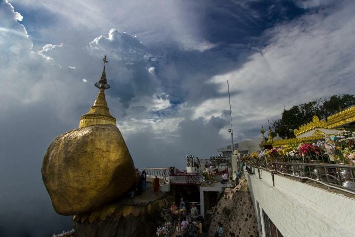 photo, image, golden rock, myanmar