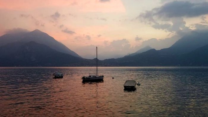 boats, sunset, lake como