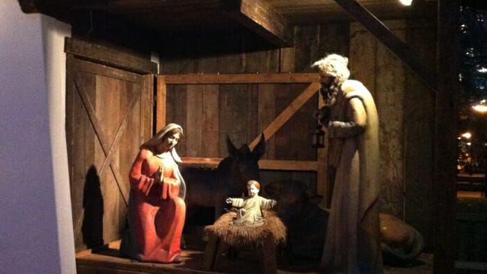 The nativity scene at the Vienna Christmas market.