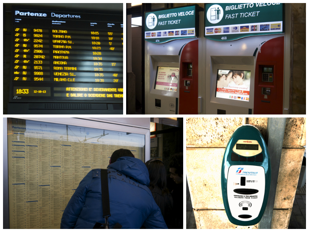 Running clockwise from the upper left, check the schedule, buy your ticket at the machine if you haven't done so online in advance, confirm what platform your train leaves from and, make sure your validate your ticket with this little machine on walls throughout the station.