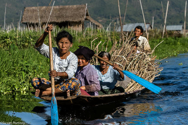 Myanmar: Ladies from the village of Inle Lake paddle the many channels of their water-centric culture.