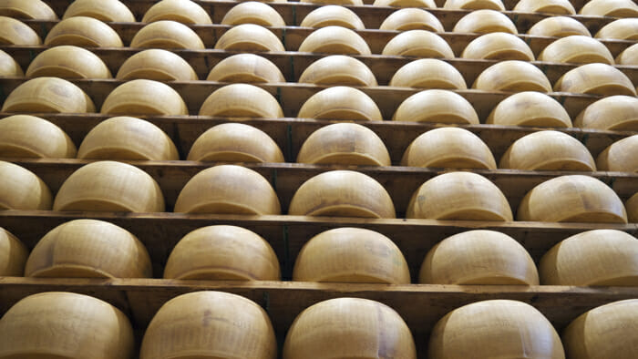 Hundreds of wheels of Parmigiano-Reggiano being aged.