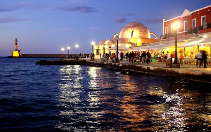 photo, image, chania harbor, crete