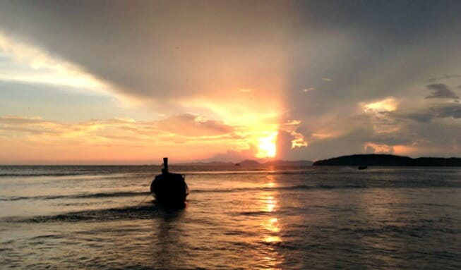 photo, image, sunset, krabi, ao nang beach, thailand