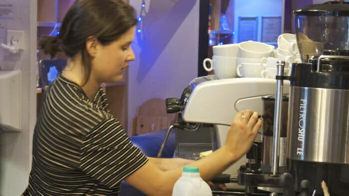 A proper espresso maker in the cafeteria/bar, hostel experience