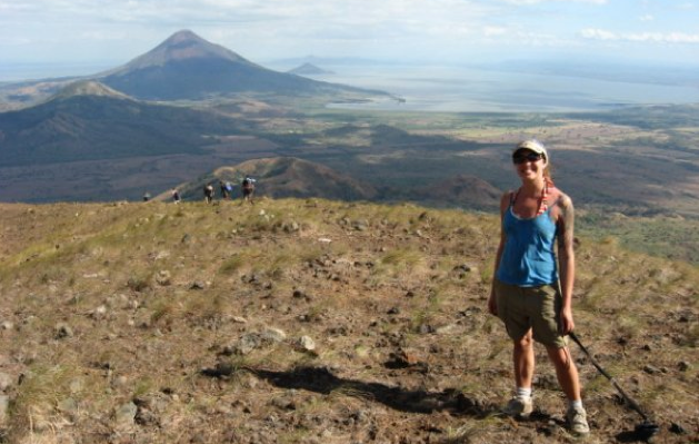 On top of El Hoyo - with Momotombo and Lake Managua in the background.