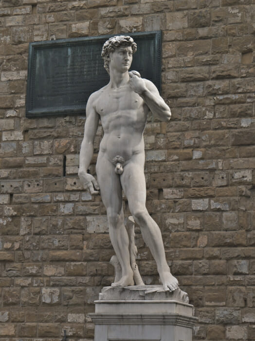 Replica of Michaelangelo's David on its original site.