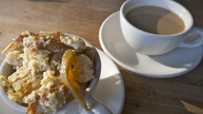 Coffee and bread pudding at Tartine