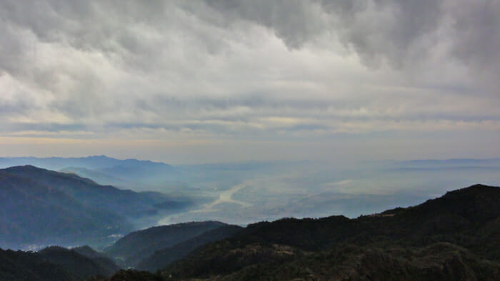 A view of the Ganges from the mountains near Rishikesh.