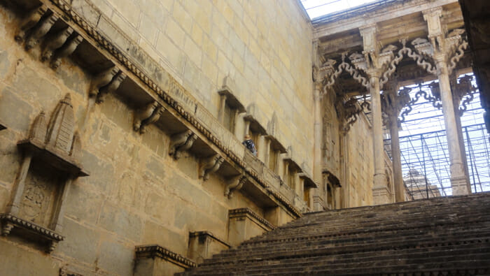 Inside a step well in Bundi.