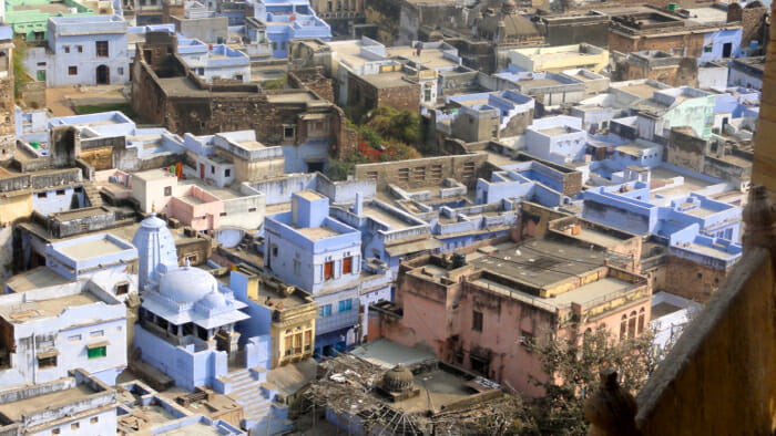 The blue houses of Bundi.
