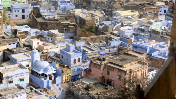 The blue houses of Bundi.