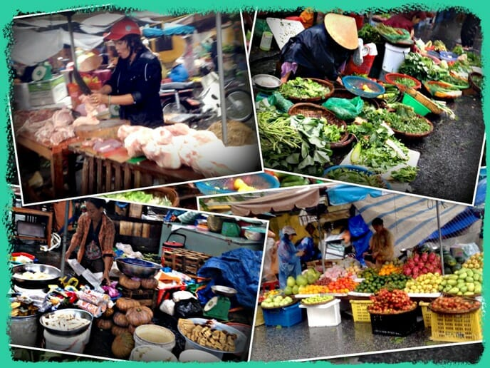 photo, image, collage, Hoi An market