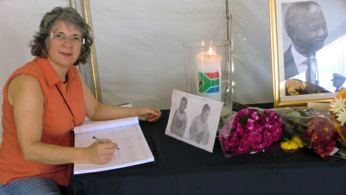 Signing the visitor book at Nelson Mandela's, divorce