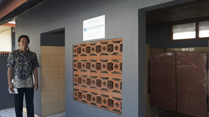 OAT is associated with the Grand Circle Foundation. This bathroom facility was built with the donations of OAT and Grand Circle travelers.