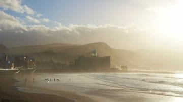 photo, image, fog, playa de las canteras, canary islands