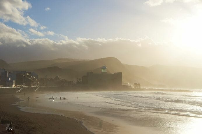 photo, image, fog, playa de las canteras, canary islands