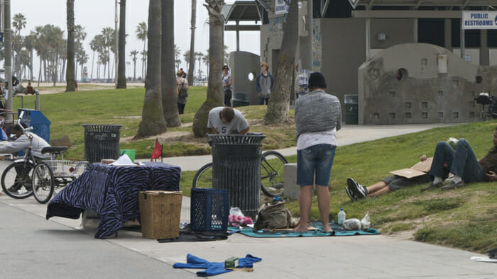 Homelessness in Venice Beach. Out of respect, I avoided taking photos.