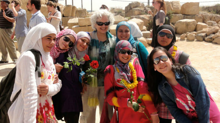 Sometimes it's impossible to be lonely. Here I was in Jerash, Jordan and there were hundreds of girls there on school trips. They were a delight.