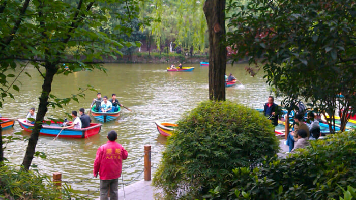 Boating in Chengdu Park, China. Public is safer than private. solo travel safety