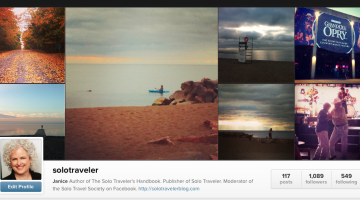 My Solo Traveler account on Instagram - click on the image to follow. Most is not shared on the blog.