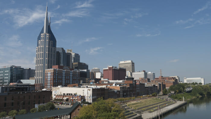 View of Nashville from Shelby Street Bridge.