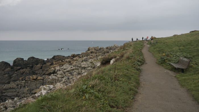 Walking around the island on the coastal path.
