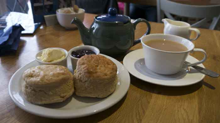Oh, an a cream tea at the end of a great day. The clotted cream and strawberry jam on a scone is to die for.