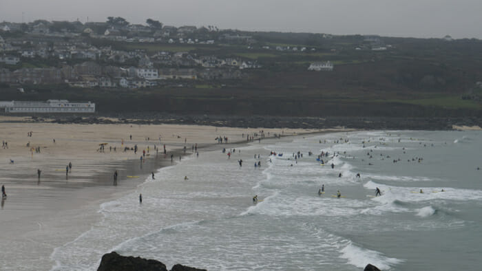 On the other side of the island is Porthmeor Beach where people have been surfing for over 100 years.