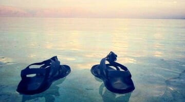 photo, image, travel decision, shoes, dead sea