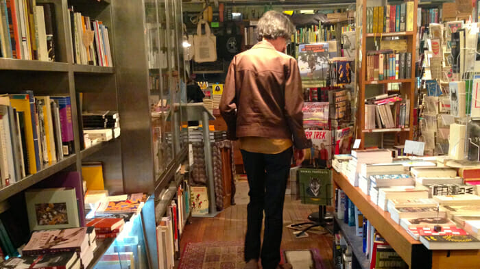 "Here's the Spoonbill & Sugartown bookstore in Williamsburg. I picked up a book called ""breasts"" which was literally just awkward black and white pictures of breasts. I also picked up ""Kim Jong-il looking at things"" which was also literally just pictures of Kim Jong-il looking at things. Good times Brooklyn, good times."