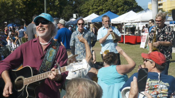 "Entertaining the crowd at the Seafood Festival with ""Always Saturday Night"""