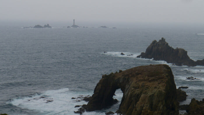 And Land's End comes into sight. That's the lighthouse in the distance.