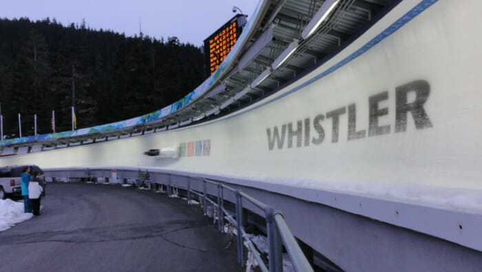 I was in this bobsleigh taking this very corner at 125km/hr. When I saw this one pass I couldn't believe the speed.