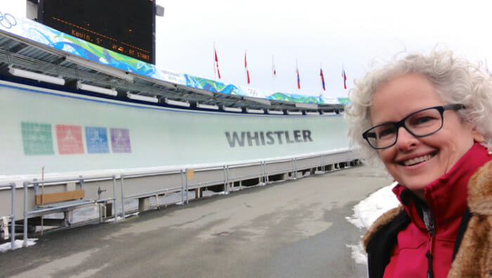 Yes, I was smiling after the run. And below, here's a video of my run. You can see me in the small screen and the course in the large. Start at 1 minute 38 to see the actual run. Before that is information on Whistler Sliding Centre.