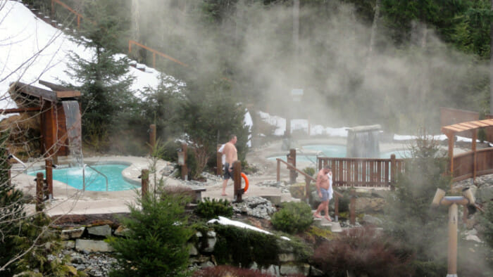 The Scandinave Spa is a peaceful retreat in the woods around Lost Lake.