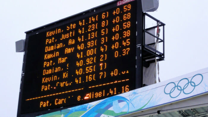 The score board shows the results of each of the teams down that afternoon.