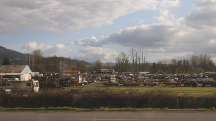 A car graveyard.