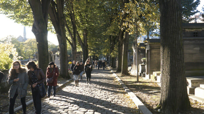 The Cimitière du Père Lachaise is a common destination for a walk by locals and tourists.