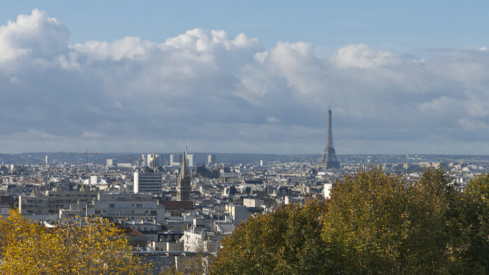 View of Paris with Eiffel Tower in the distance.