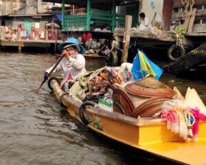 photo, image, bangkok, woman in boat