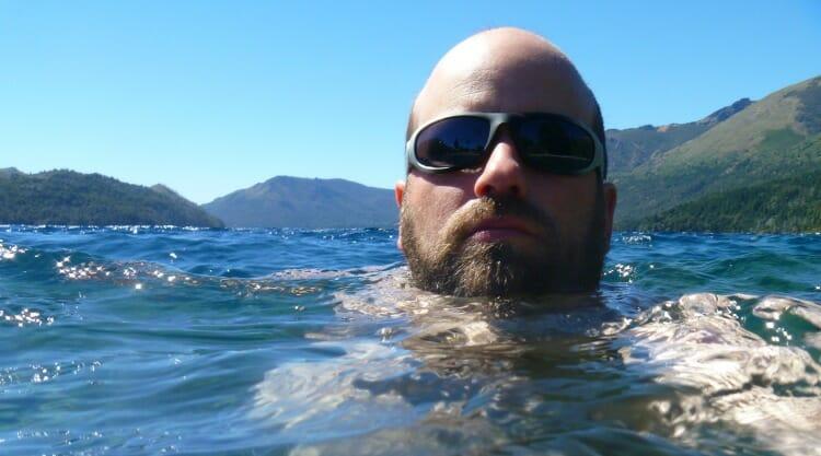 photo, image, man swimming, patagonia