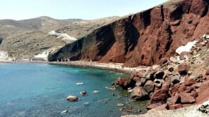 photo, image, red beach, santorini, greece