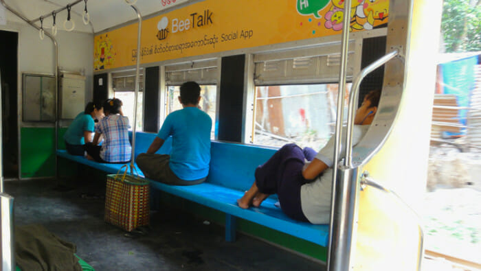 Inside the Circle Train in Yangon. The train goes circles the city bringing people in and out of the suburbs.