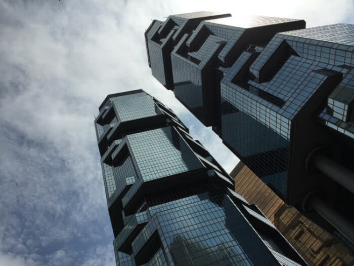 The Lippo Centre, one of many skyscrapers of unusual architecture in Hong Kong.
