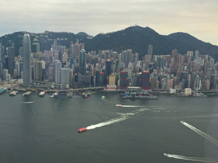 View of Hong Kong Island from Sky100 on the Kowloon side.