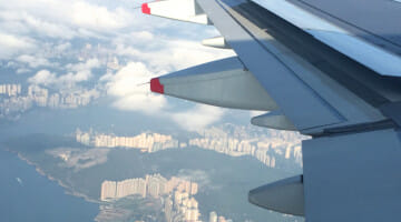 Flying over Hong Kong