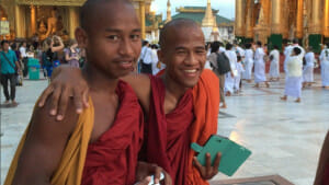 Monks at Shwedogan Pagoda