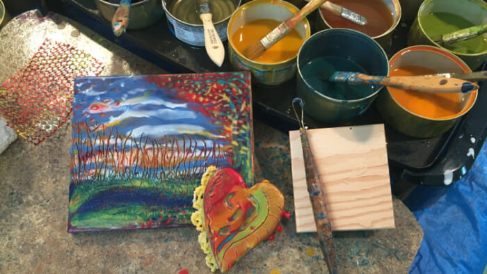 Encaustic art uses oil paint or pigment infused bees wax.