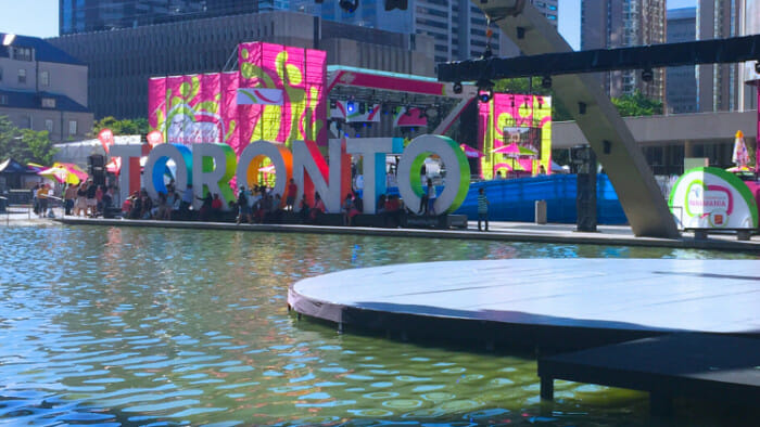 Yes, in case it wasn't obvious we have a big sign to let you know that you are in Toronto. It's wonderful how people sit and play on it.